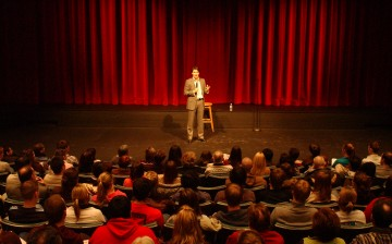 Justin Trudeau speaking in front of a packed crowd at the Humanities Theatre at the University of Waterloo in March 2006